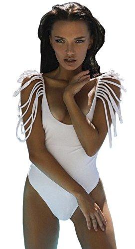 (Longwu Women's Sexy Tassel Swimsuit V Neck Monokini One Piece Bikini Bathing Suit Swimwear White-M)
