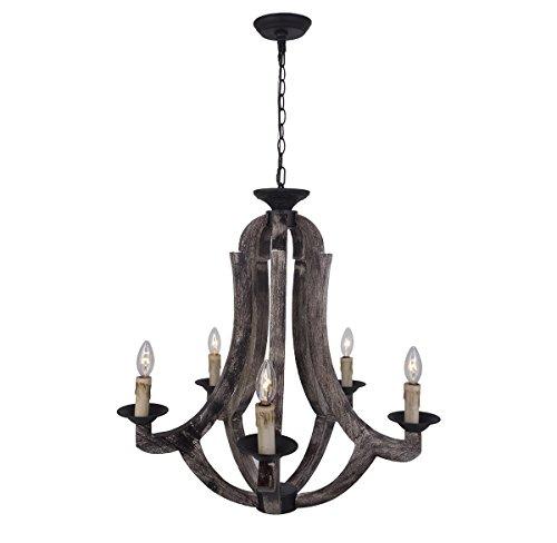 Parrot Uncle Rustic Wooden Chandelier Antique 6 Light Farmhouse Pendant Lights Candle Bulbs Hanging Ceiling Lighting, Antique Black