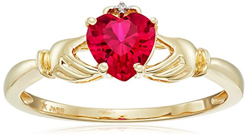 10K Yellow Gold Created Ruby Heart with Diamond Accent Ring Size