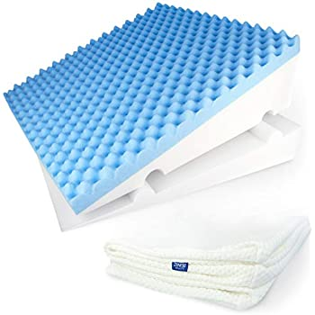 LUXELIFT Support Therapy Bed Wedge Pillow | Multipurpose adjustable 12 inch or 8 inch height | Stay-Cool Gel-Infused Memory Foam, Back & Leg Pillow | Back Pain, Injury, Reflux, GERD, Sinus & Snoring