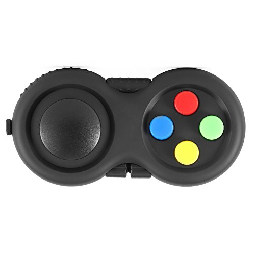 The Classic Fidget Retro: Rebberized Classic Controller Game Pad Fidget Focus Toy and Lanyard with 8 Functions - Perfect for Increasing Attention and Relieving Stress/Anxiety