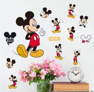 - SeedWorld Wall Stickers - Cartoon Mickey Minnie Mouse Baby Home Decals Wall Stickers for Kids Room Baby Bedroom Wall Art Nursery Amusement Park DIY Poster 1 PCs