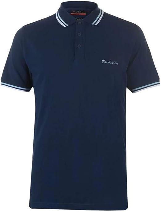 TALLA 3XL. Pierre Cardin Camiseta azul marino para hombre con modelo polo cuello tipo camisa
