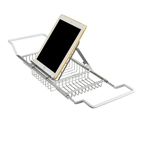 bathtub-caddy-tray-with-book-reading-rack-and-extending-sides-stainless-steel-newest-design-chrome
