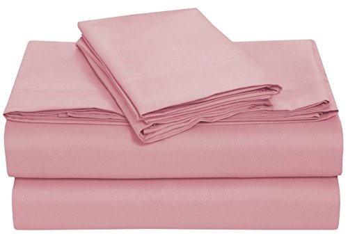 Brushed Embossed Microfiber Bed Sheet Set By Pieridae - Hypoallergenic, Fade and Wrinkle Resistant - 4 Pc Sheet Set - Pink, Cal King (Sage Piece 4 Pink Crib)