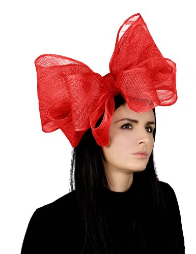 12 Inch Cliverina Sinamay Bow Ascot Fascinator Hat With Headband - Red by Hats By Cressida