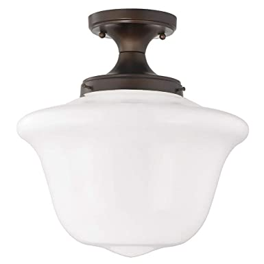 14-Inch Wide Schoolhouse Ceiling Light in Bronze Finish