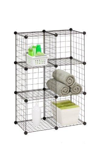 Honey-Can-Do SHF-02113 Modular Mesh Storage Cube, Black, 6-Pack (Honey Can Do Storage Cubes compare prices)