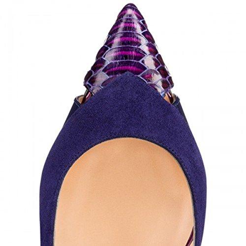 Guoar Para Mujer De Gran Tamaño De Punta Estrecha Costura Stiletto A Cielo Abierto De Tacones Altos Bombas Zapatos A-púrpura Y Azul