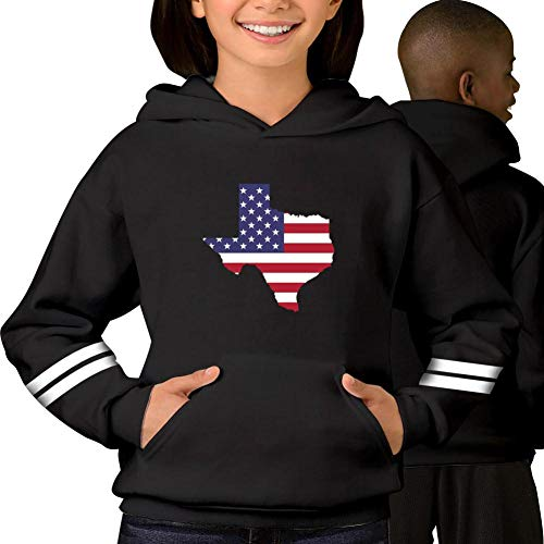 Youth/Kid Hooded Flag of T-exas United States Sweatshirt Fleece Pullover Hood Black