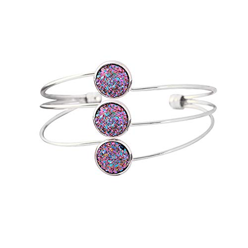Sequins Cuff Bracelet Multilayered Three Disc Crystal Cluster Cuff Bangle Jewelry Opening Stainless Steel Bracelet Punk Accessories Gifts for Girls (silver purple)