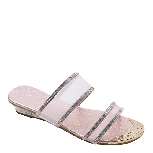 New Brieten Womens Metallic Ornament Rhinestone Mesh Upper Low Wedge Comfort Slide Sandals Rose Gold XF2No1BAAp