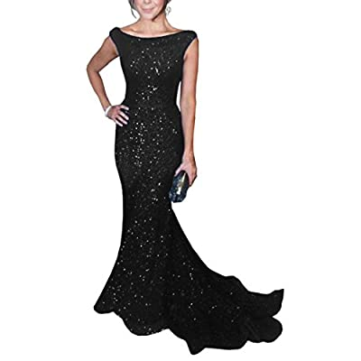 SOLOVEDRESS Women's Mermaid Sequined Formal Evening Dress for Wedding Prom Gown: Clothing