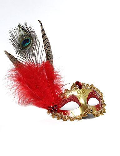 Jevenis Luxury Venice Masquerade Ball Mask Costume Party Mask Carnival Ball Mask Masquerade Mardi Gras Halloween Mask Custom mask (Red eye with red (Red Halloween Mask)