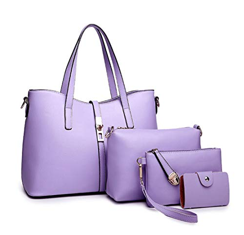 Sacs main Cuir Femme Taro bandoulière Faux Sacs de Sacs ensemble Sacs Sacs à DEERWORD portés Cartable épaule portés 3pc main Violet I41xq