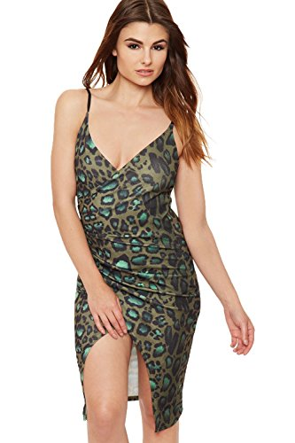 WEARALL Women's Strappy Animal Print Bodycon Dress - Green - US 8 (UK - Snake Print Cheetah