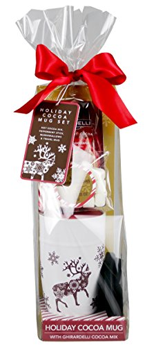 Ghirardelli Chocolate Holiday Travel Gift Set | Contains Ceramic Travel Mug, Hot Cocoa Mix, Peppermint Candy Cane and Mini Marshmallows (Gourmet Cocoa Mug)