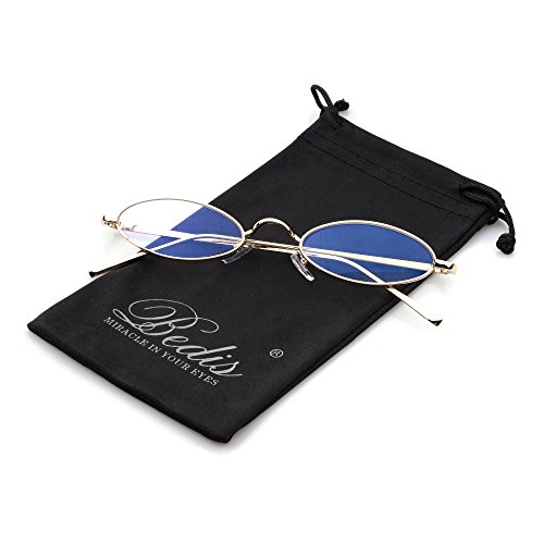Bedis Small Oval Sunglasse,Retro Slender Metal Frame Candy Colors Glasses BD212 (Gold&Clear, 55) ()