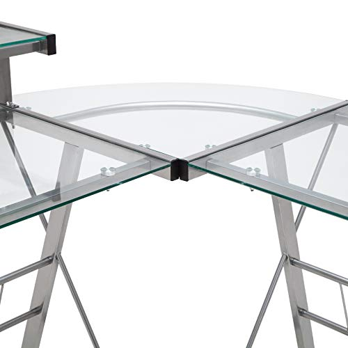 Mecor L-Shaped Corner Computer Desk with Shelf & Stand, Glass Laptop PC/Computer Table Workstation Home Office Furniture, Glass & Metal, Clear by Mecor (Image #3)