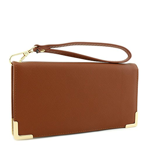 Women's Saffiano Leather Wallet Wristlet with Gold Hardware Edges (Brown) (Wristlet Brown)