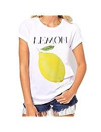 Women Short Tees, Changeshopping Chic Letter Fruit Printing Blouse shirt