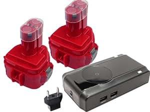 2-Pack Makita 6217DWDLE Battery + Charger + EU Adapter - Replacement Makita 12V Battery, Charger and EU Adapter (1300mAh, NICD)