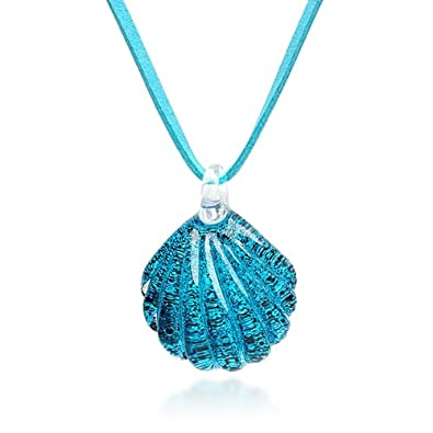 Amazon hand blown venetian murano glass ocean blue sea shell hand blown venetian murano glass ocean blue sea shell shaped pendant necklace 18 20 aloadofball Choice Image