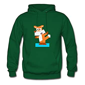 X-large Square Animal Cartoon Fox Printed And Let You Handle It Customized Women Green Sweatshirts