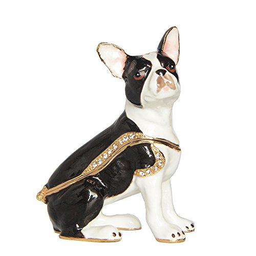 Boston Terrier Dog Pewter Jeweled Hinged Trinket / Jewelry /Keepsake Box Dog Min