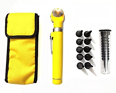 Fiber Optic Mini Otoscope Set - Medical Diagnostic Examination Set - Pocket Size - (YELLOW)
