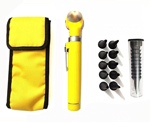 Fiber Optic Mini Otoscope Set - Medical Diagnostic Examination Set - Pocket Size - (YELLOW)