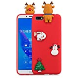 For HuaWei Y5 2018 Christmas Series Case Cover, HengJun 3D Creative Fashion Cool Cartoon Cute Shockproof Rubber Case for HuaWei Y5 2018 - Deer & Santa Claus Red