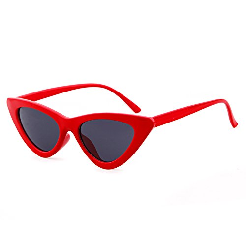 Clout Goggles Cat Eye Sunglasses Vintage Mod Style Retro Kurt Cobain Sunglasses (Red& smoke, - Red Sunglass