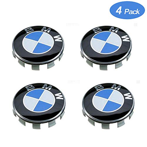 Center Stock - ESKey Replacement of BMW Wheel Center Hub Caps Suitable for All Models with Stock BMW Wheels Blue & White Color 68mm-4 Packs