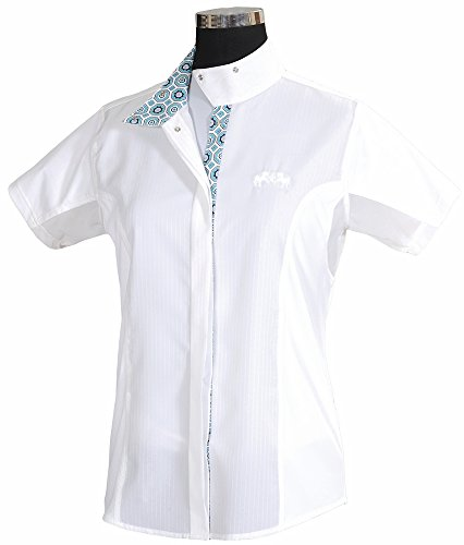 Equine Couture Girl's Kelsey Short Sleeve Show Shirt, White/Aqua, 6