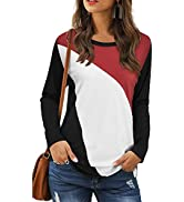 LAISHEN Women's Casual T Shirts Round Neck Triple Color Block Patchwork Blouse Summer Tunic Tops