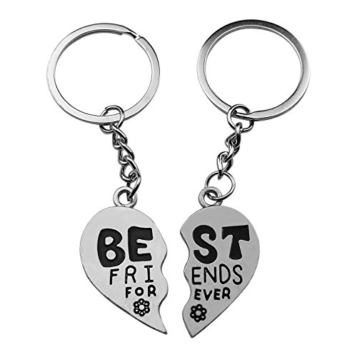 Art Attack Silvertone Best Friends Forever BFF Floral Flower Metal Keychain Pendant Gift