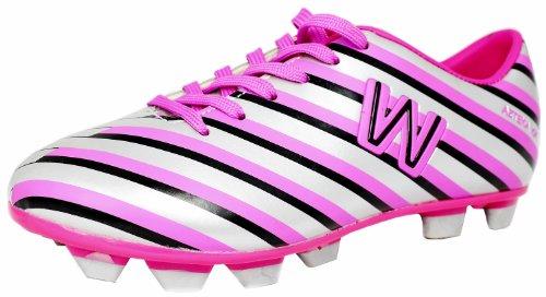 Azteka kik Jr Soccer Shoes, Cleat Silver/Pink (6)