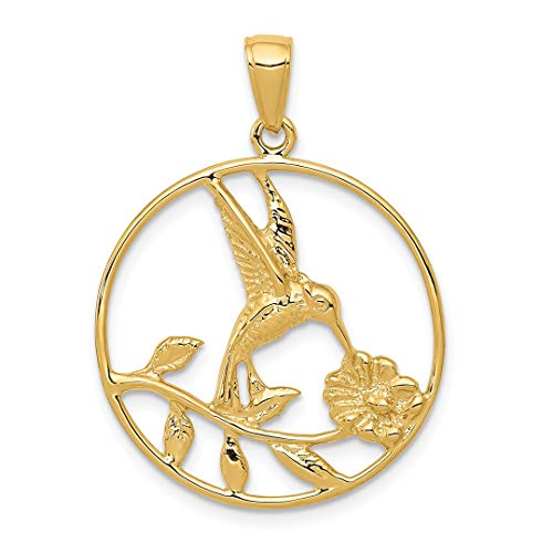 ICE CARATS 14kt Yellow Gold Hummingbird In Round Frame Pendant Charm Necklace Bird Fine Jewelry Ideal Gifts For Women Gift Set From Heart ()