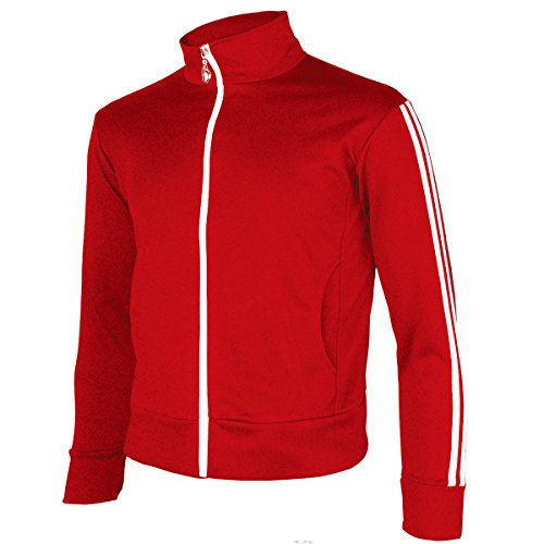 (myglory77mall Men's Running Jogging Track Suit Warm Up Jacket Gym Training Wear L US(2XL Asian Tag) Red)