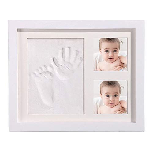 HORHIN Newborn Baby Clay Hand Print Picture Frame for Newborn, Keepsake Box for Boys and Girls, Best New Mom Gift - Foot Impression Photo Keepsake for Girls and Boys, Wall Photo Decoration (The New Rainbow Bridge Poem For Dogs)