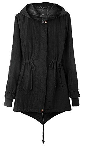 4HOW Women's Rain Coat with Hood Waterproof Long Military Anorak Jacket Black Size 6