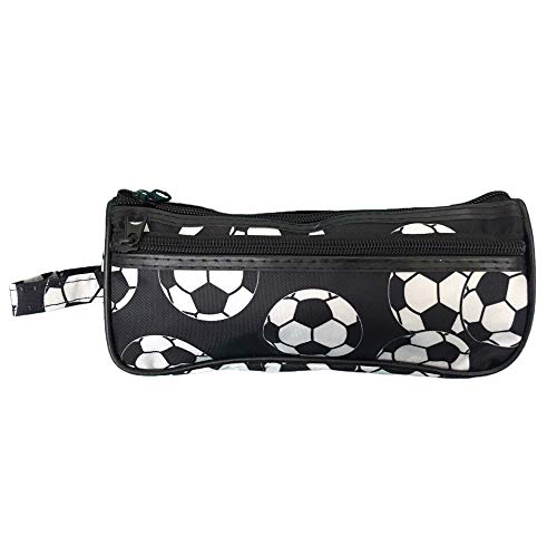 Soccer Toiletry Travel Bag Case - 2 Zipper Gift holds Cosmetics, Jewelry, Accessories, Electronics