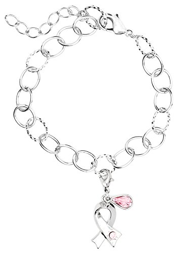 Cousin DIY Create Your Style Breast Cancer Ribbon Bracelet Combo, Made with Swarovski Crystal