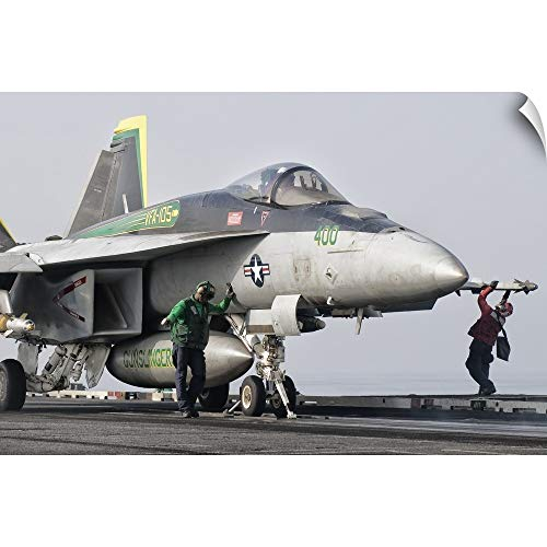 CANVAS ON DEMAND Giovanni Colla Wall Peel Wall Art Print Entitled an F/A-18 Super Hornet is Ready to Launch from a Catapult Aboard USS Harry S. Truman 48