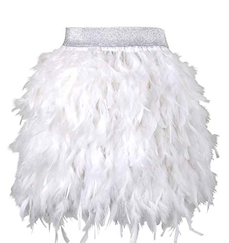 L'VOW Women's Sexy Mid Waist Mini A-line Feather Skirt for Party Wedding Halloween (White, -