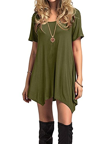 amp; Knee Dress Sleeve Long Shirt Women's Winter Fall army Green Star Thin Dress Flowy Soft Casual Simple Plain Short Sleeve Length Century T Loose 1qnxtHawq