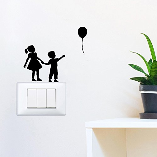Monte Carlo Balloon - YINGKAI Children Balloon Light Switch Decal Vinyl Wall Decal Sticker Art Living Room Carving Wall Decal Sticker for Nursery Kids Room Home Window Decoration