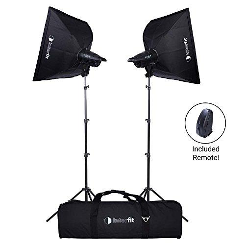 Interfit FLA2002K1 Studio Essentials Simple - 200Ws Two-Light Softbox Kit, Black