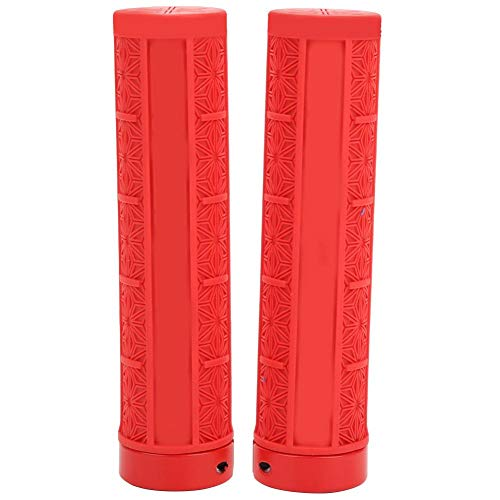 Alomejor Bike Grip 1Pair Silicone Handlebar Grip Cover Comfort Soft Bicycle Grip for Mountain Bike Road Bicycle(Red)